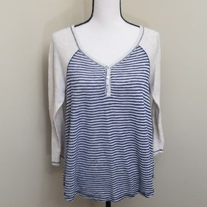 Maurices large blue ivory striped raglan tee vneck